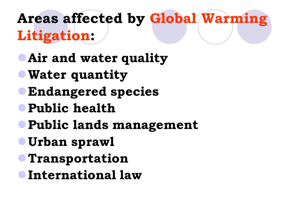 Areas affected by Global Warming Litigation:
