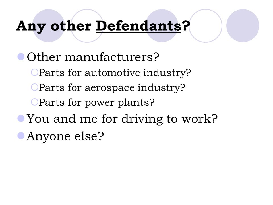 Any other Defendants Other manufacturers