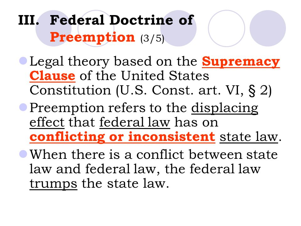 Federal Doctrine of Preemption (3/5)