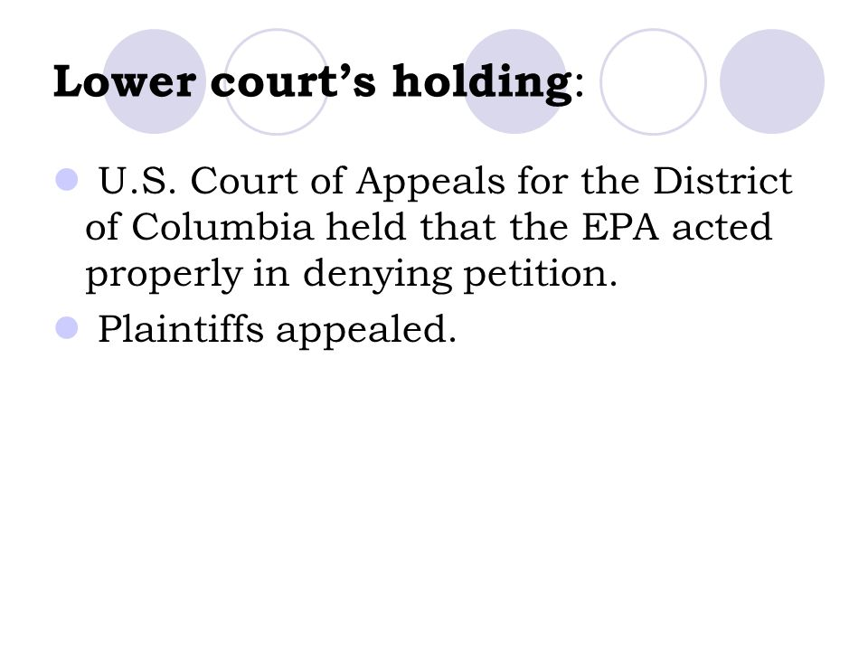 Lower court's holding: