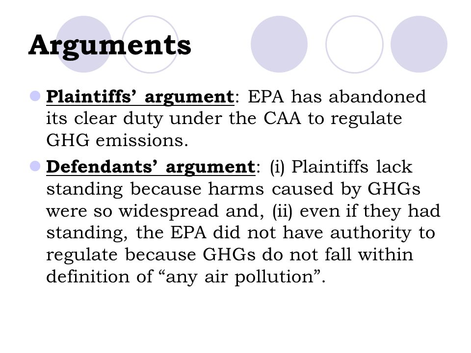 Arguments Plaintiffs' argument: EPA has abandoned its clear duty under the CAA to regulate GHG emissions.