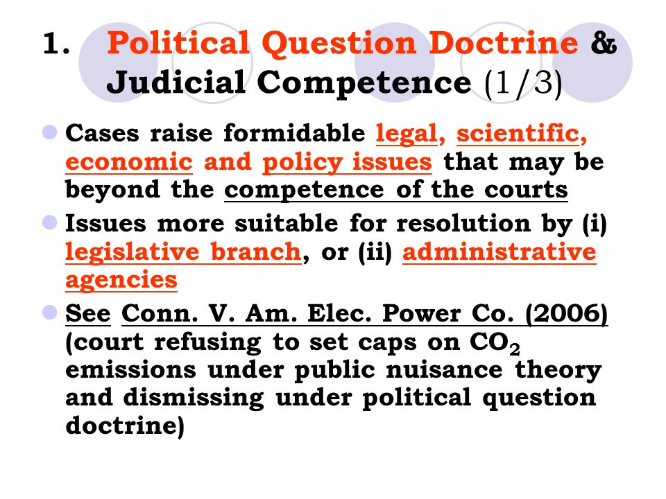 1. Political Question Doctrine & Judicial Competence (1/3)