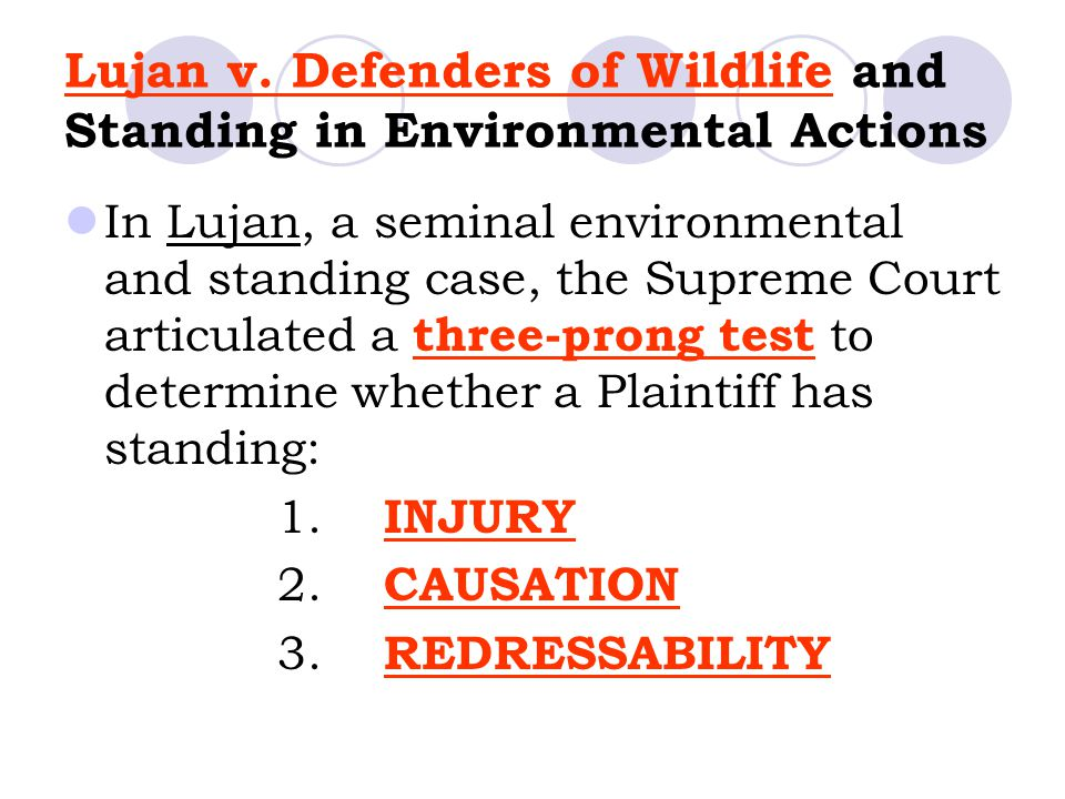 Lujan v. Defenders of Wildlife and Standing in Environmental Actions