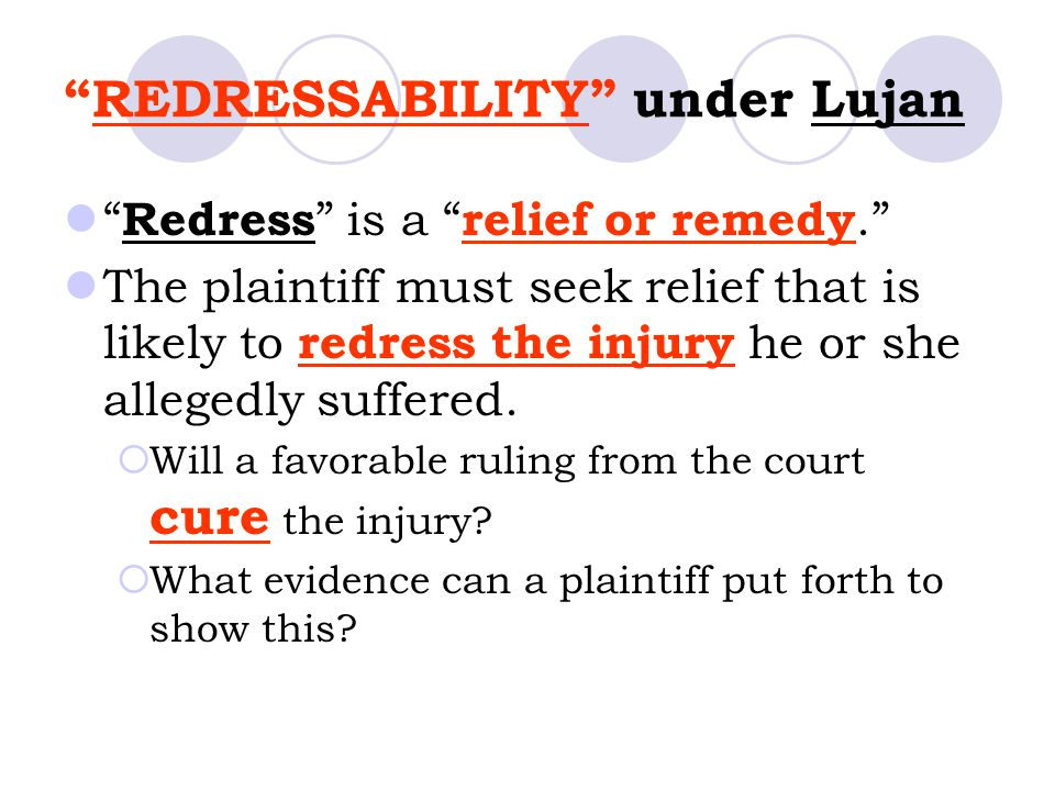 REDRESSABILITY under Lujan