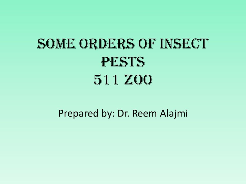 Some Orders of Insect Pests 511 Zoo