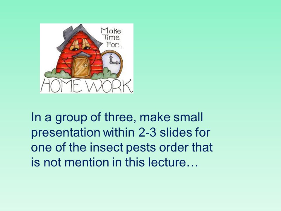 In a group of three, make small presentation within 2-3 slides for one of the insect pests order that is not mention in this lecture…