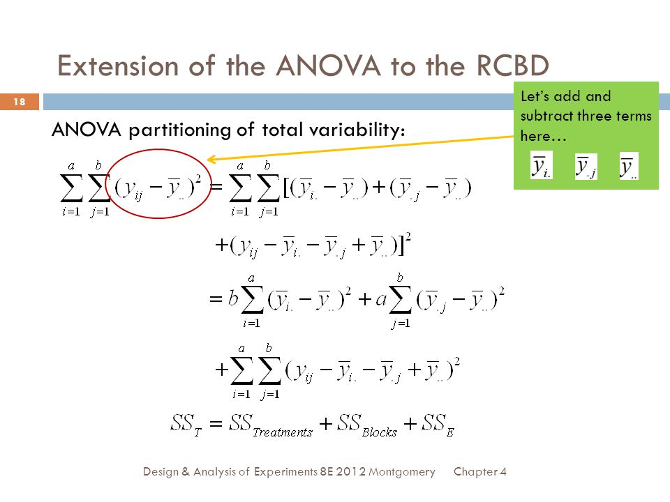 Extension of the ANOVA to the RCBD