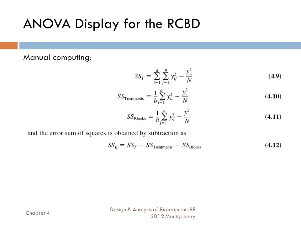 ANOVA Display for the RCBD