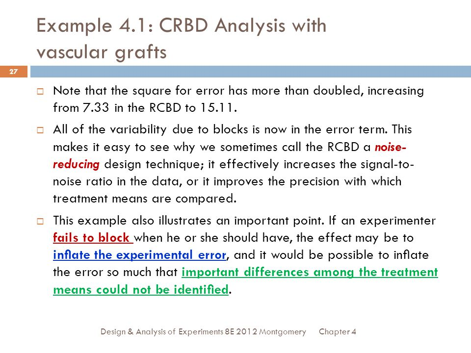 Example 4.1: CRBD Analysis with vascular grafts