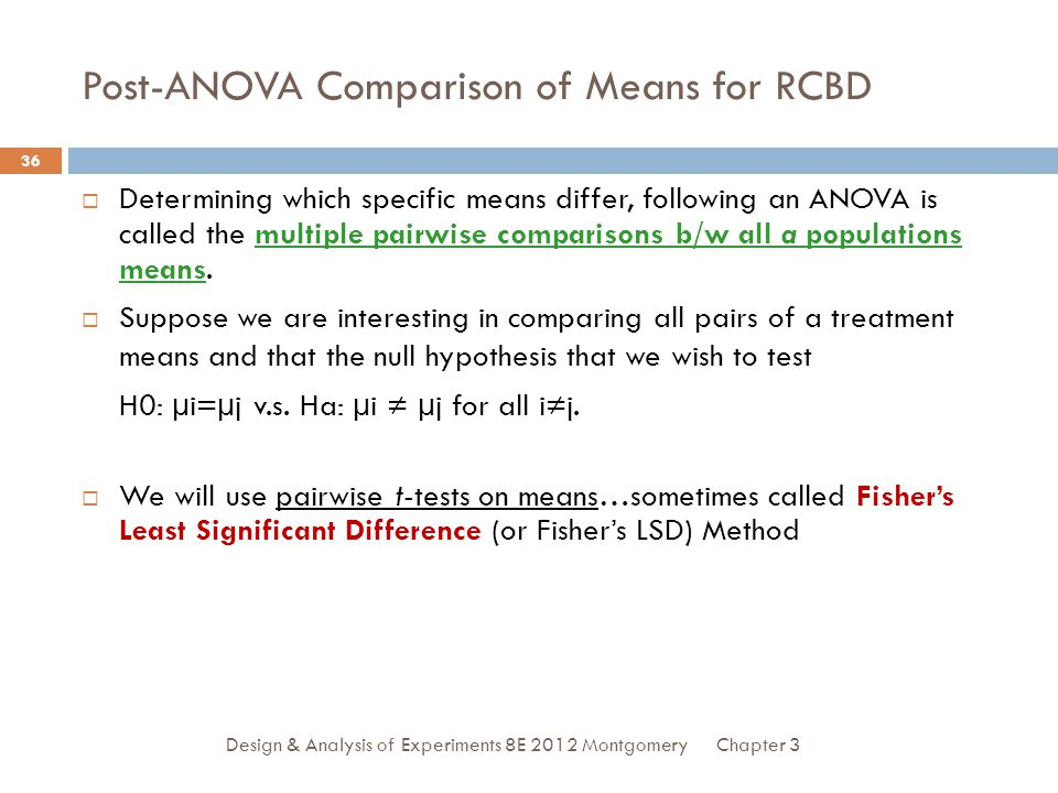 Post-ANOVA Comparison of Means for RCBD