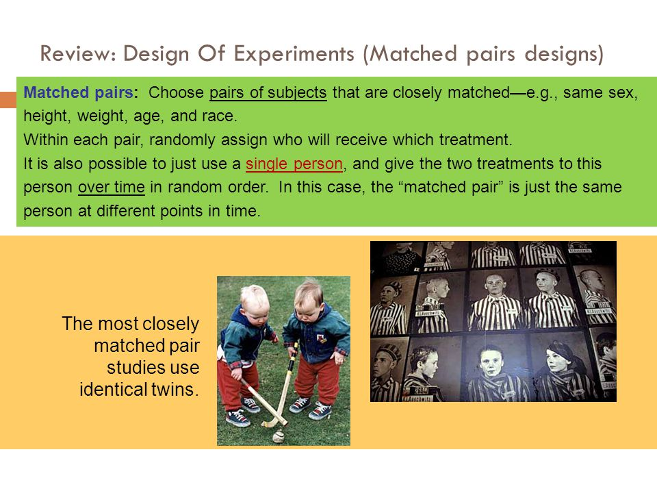 Review: Design Of Experiments (Matched pairs designs)