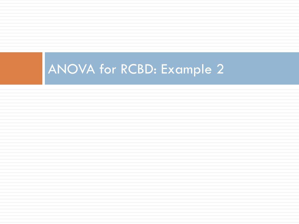 ANOVA for RCBD: Example 2