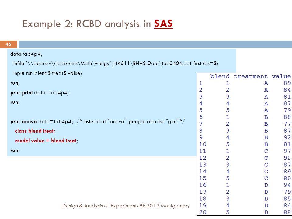 Example 2: RCBD analysis in SAS
