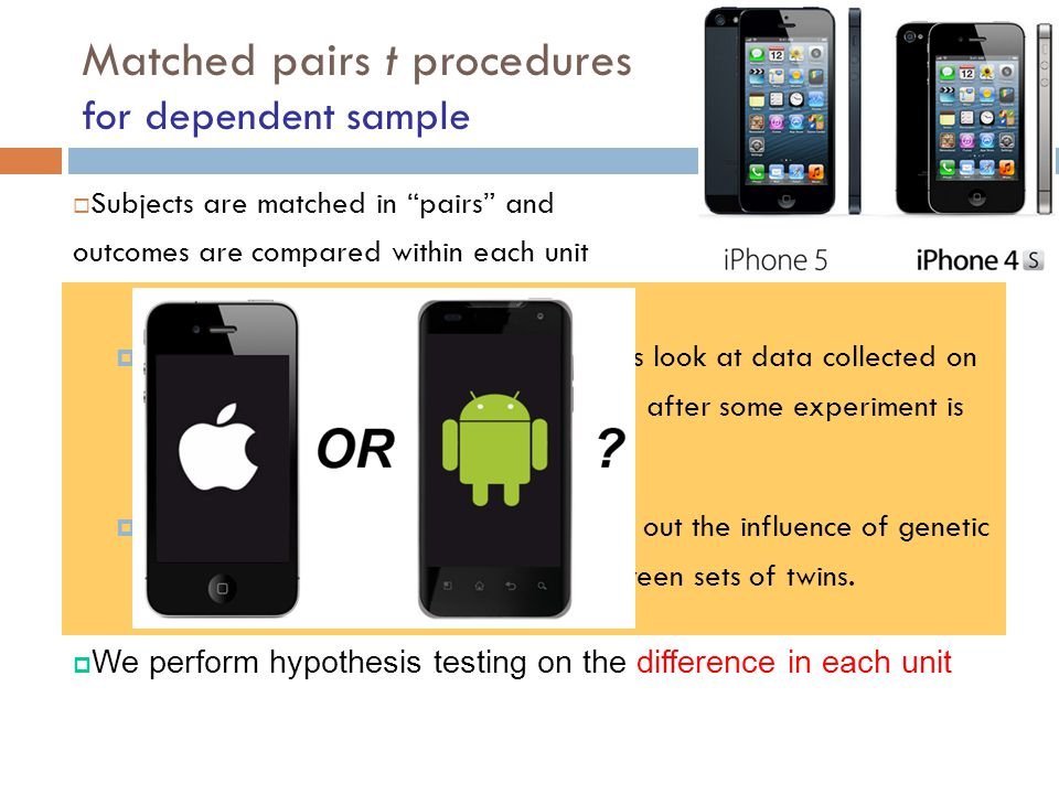 Matched pairs t procedures for dependent sample
