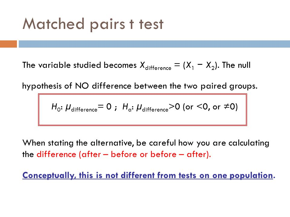 Matched pairs t test