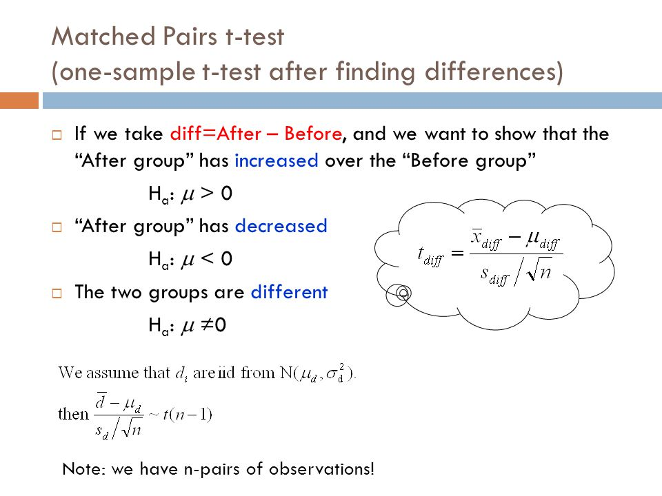Matched Pairs t-test (one-sample t-test after finding differences)