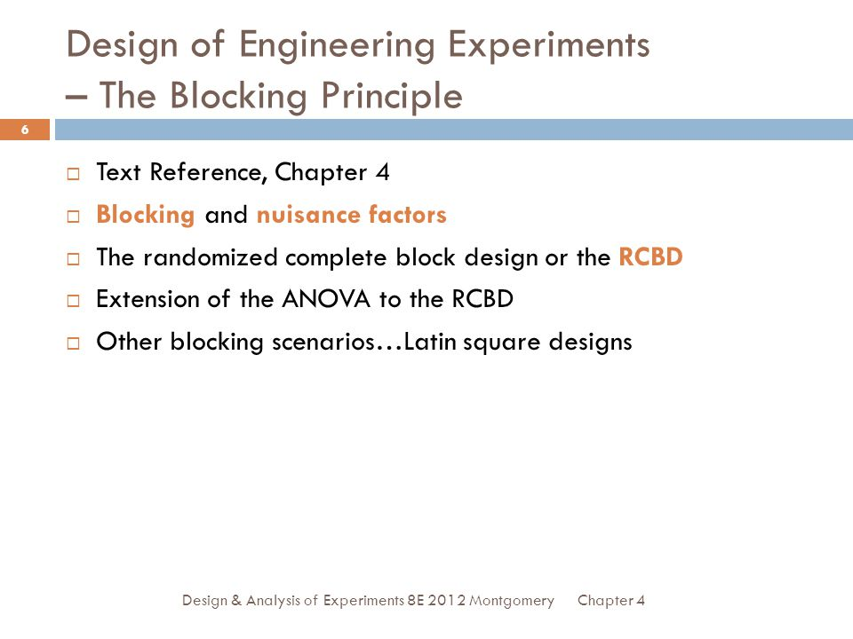 Design of Engineering Experiments – The Blocking Principle