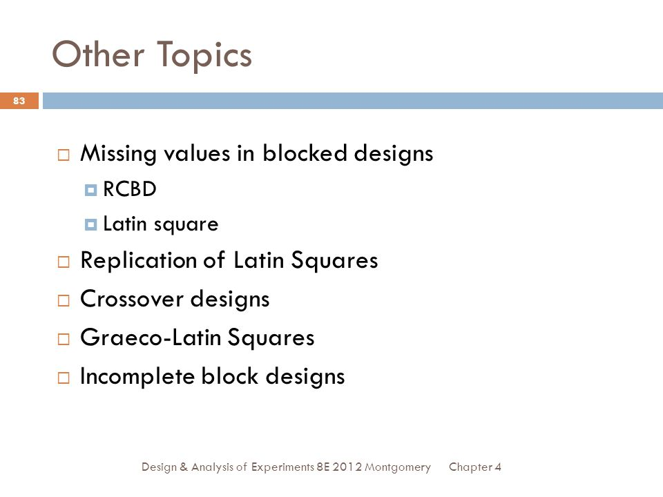 Other Topics Missing values in blocked designs