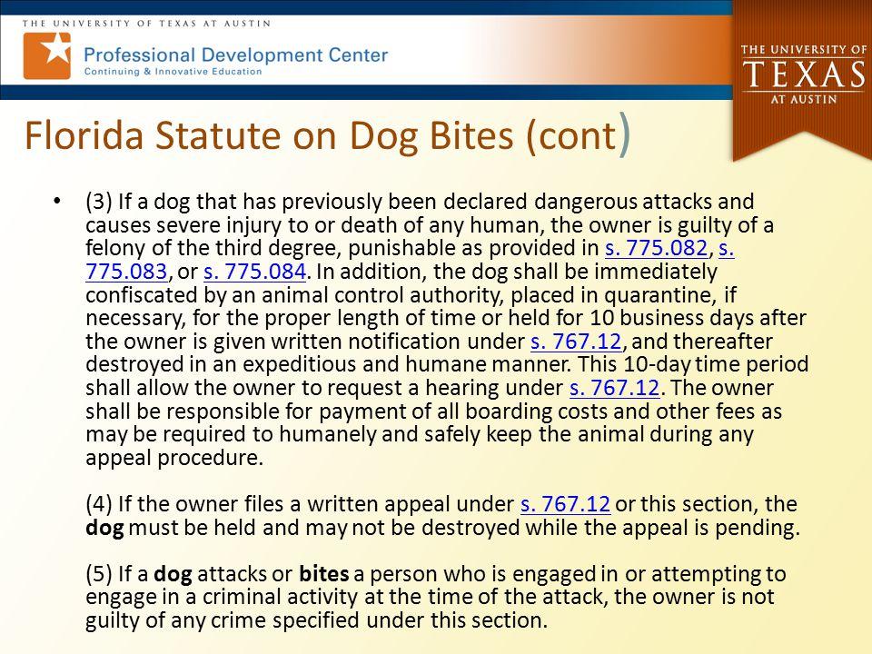Florida Statute on Dog Bites (cont)