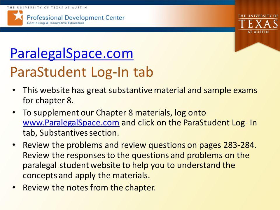 ParalegalSpace.com ParaStudent Log-In tab