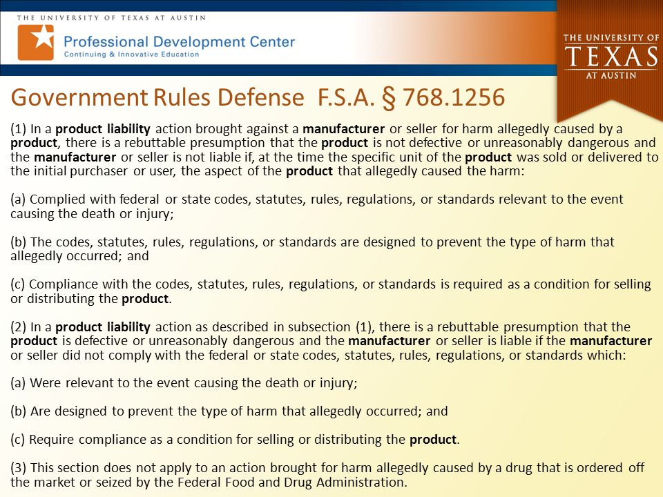 Government Rules Defense F.S.A. § 768.1256