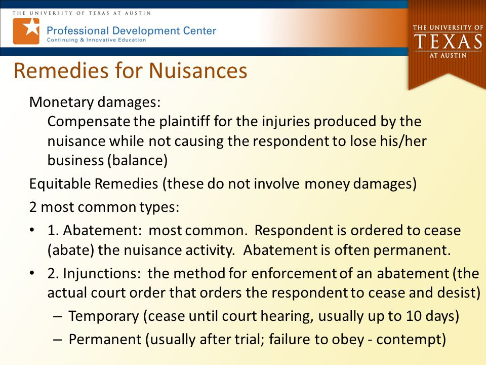 Remedies for Nuisances