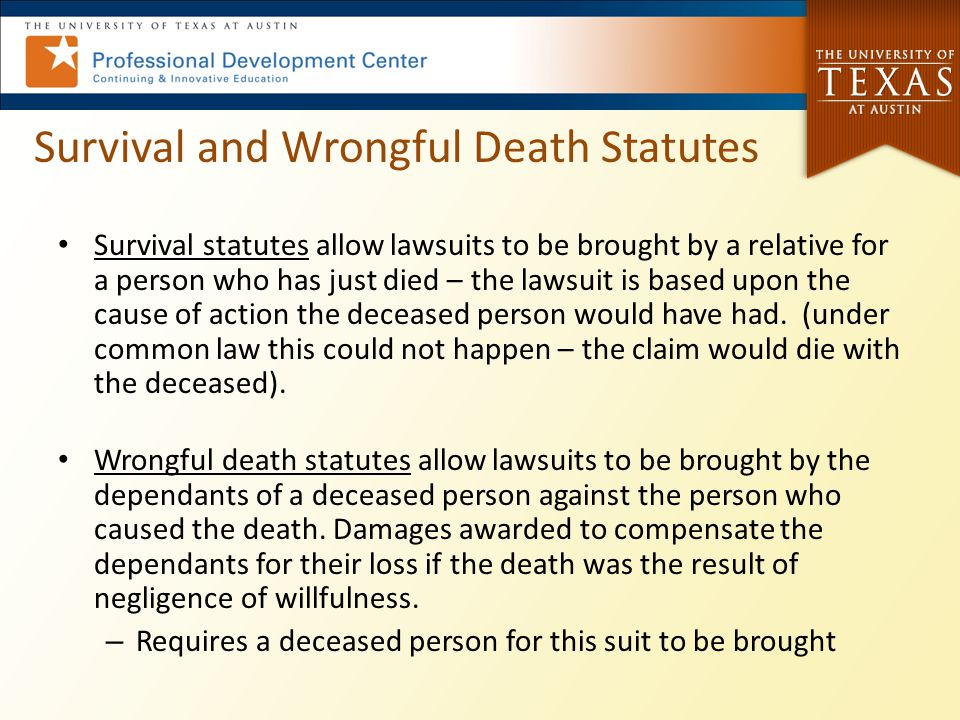 Survival and Wrongful Death Statutes