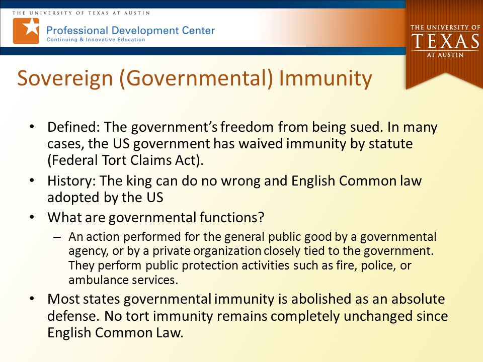 Sovereign (Governmental) Immunity