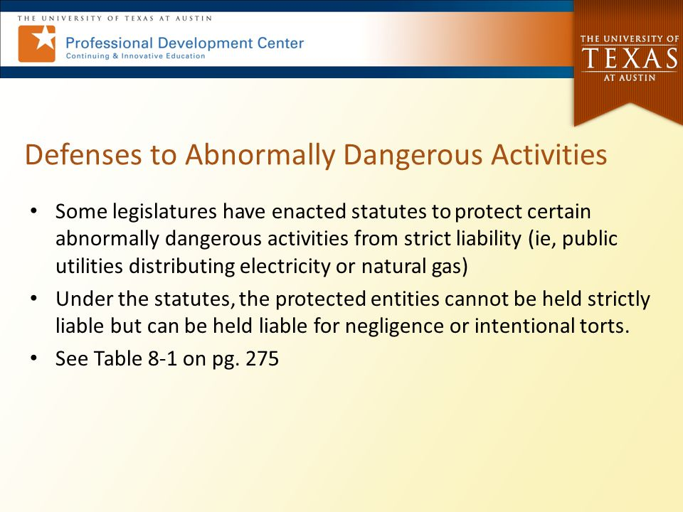Defenses to Abnormally Dangerous Activities