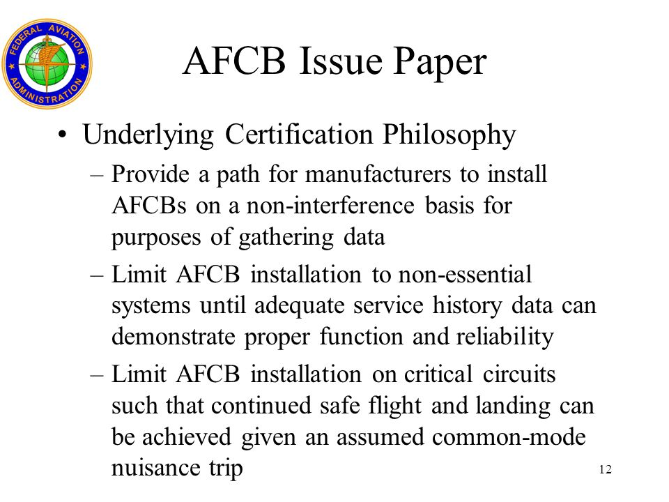 AFCB Issue Paper Underlying Certification Philosophy