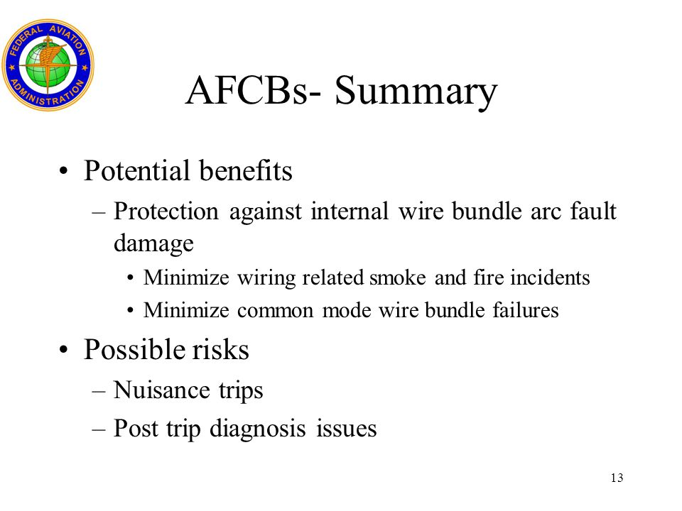 AFCBs- Summary Potential benefits Possible risks