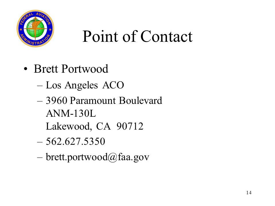 Point of Contact Brett Portwood Los Angeles ACO