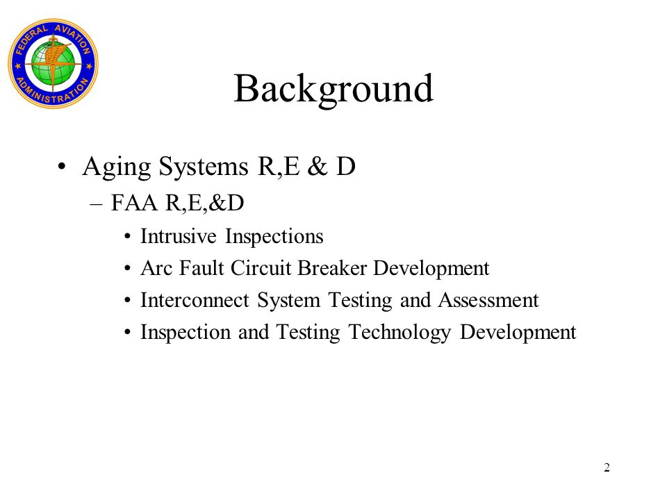 Background Aging Systems R,E & D FAA R,E,&D Intrusive Inspections