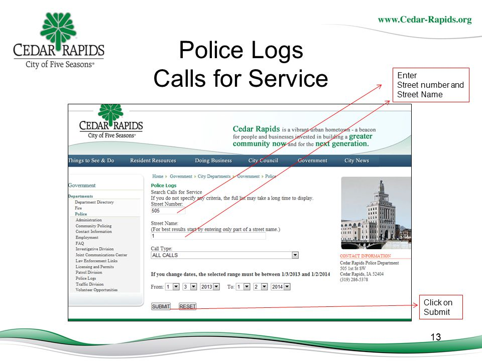 Police Logs Calls for Service