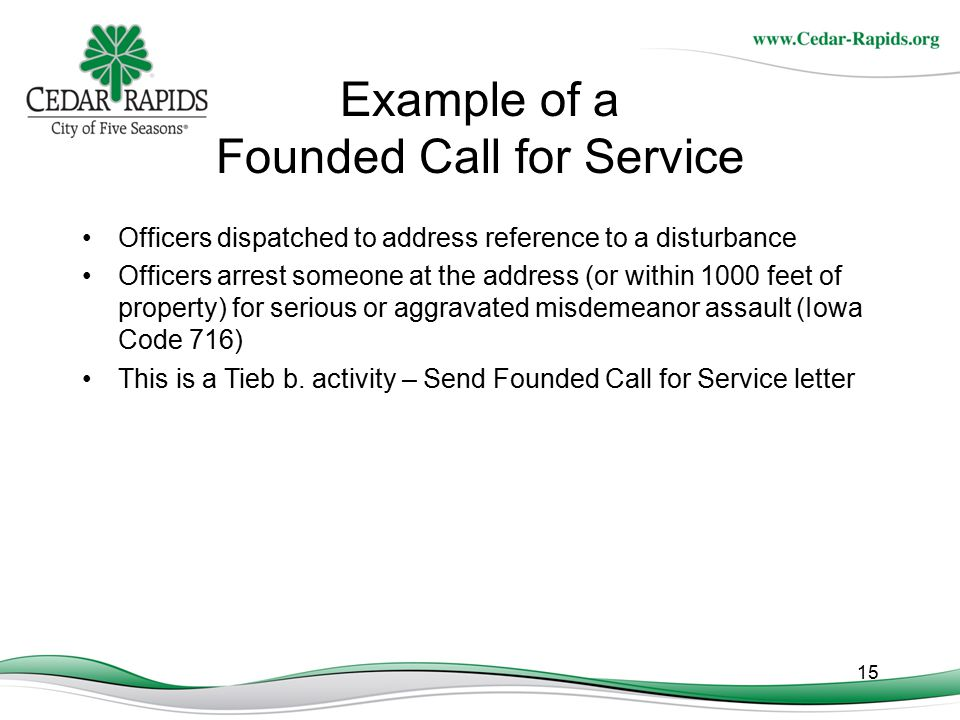 Example of a Founded Call for Service