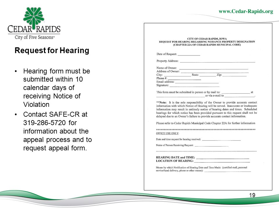 Request for Hearing Hearing form must be submitted within 10 calendar days of receiving Notice of Violation.