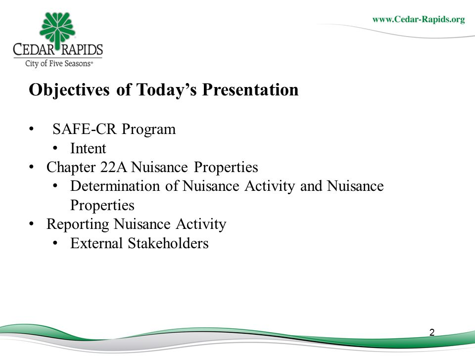 Objectives of Today's Presentation