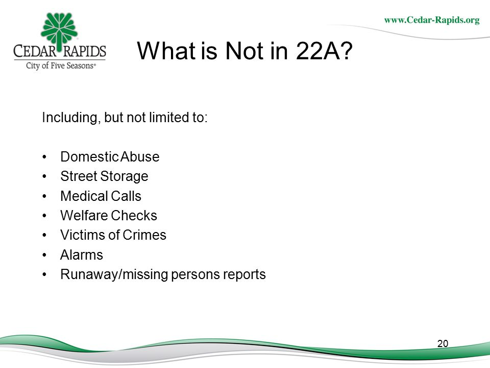 What is Not in 22A Including, but not limited to: Domestic Abuse