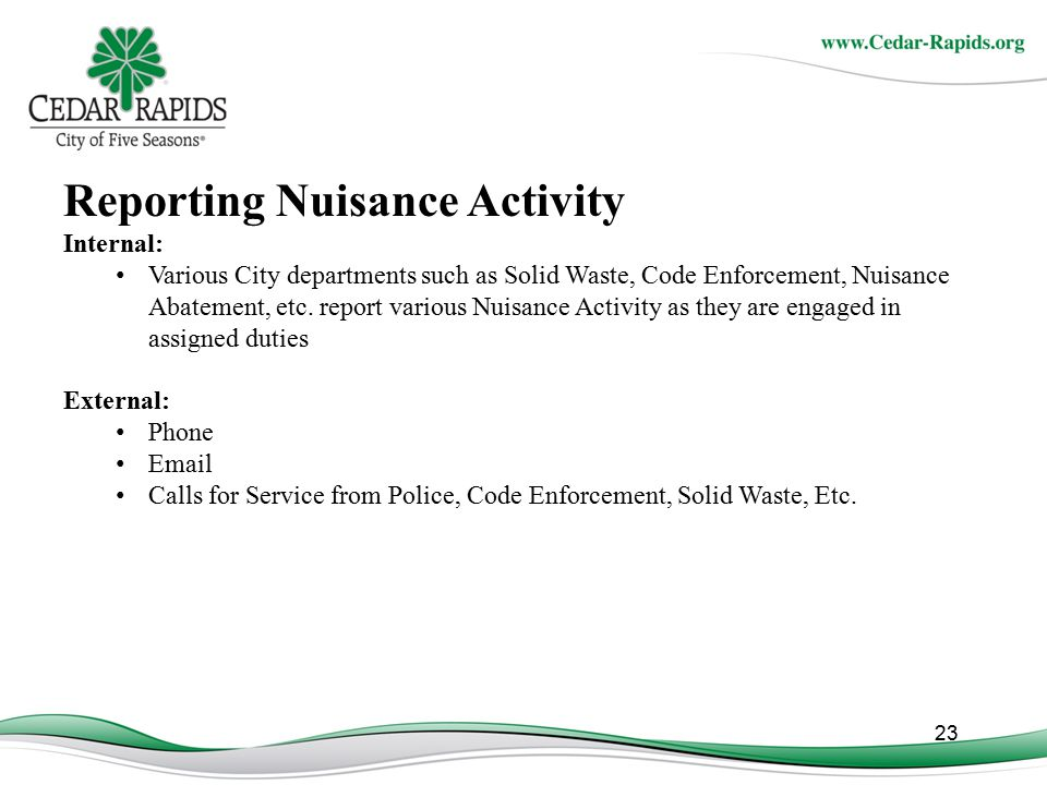 Reporting Nuisance Activity