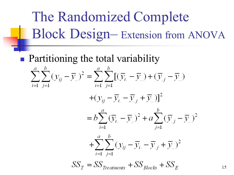 The Randomized Complete Block Design– Extension from ANOVA
