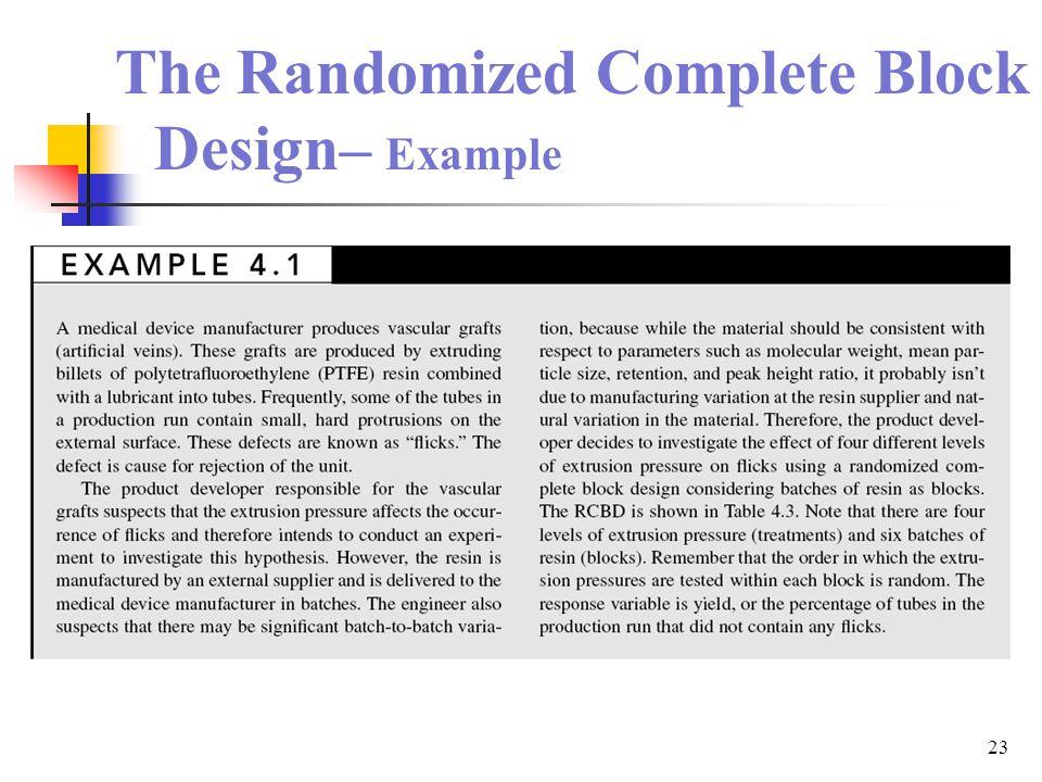The Randomized Complete Block Design– Example