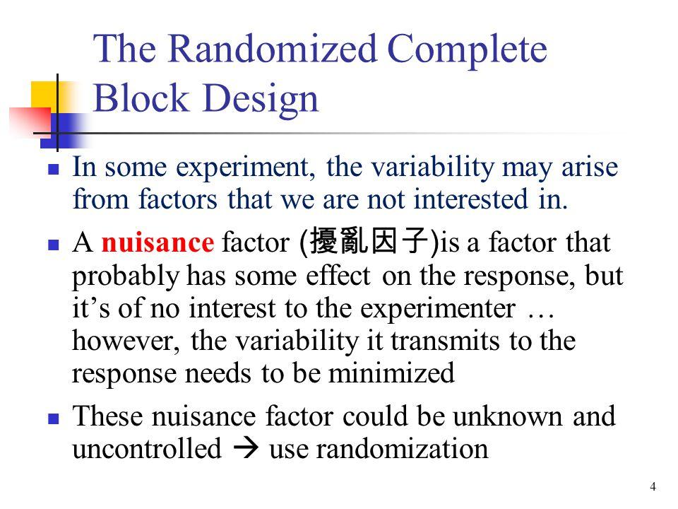The Randomized Complete Block Design