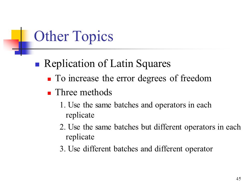 Other Topics Replication of Latin Squares