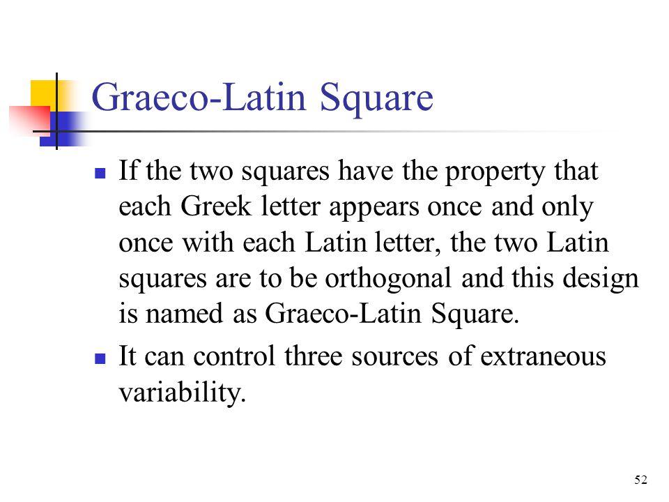 Graeco-Latin Square