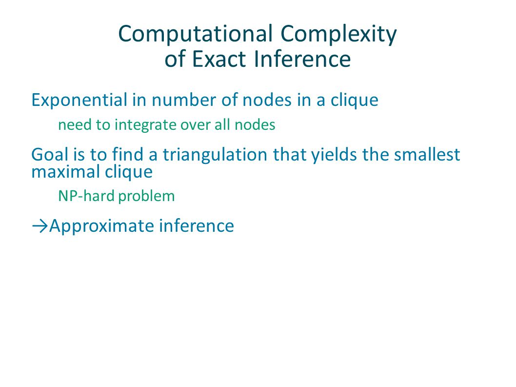 Computational Complexity of Exact Inference