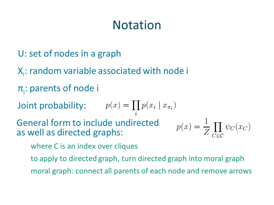 Notation U: set of nodes in a graph