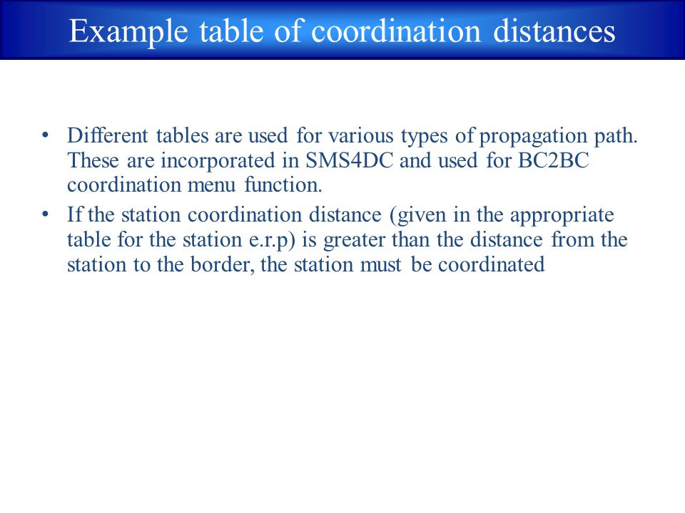 Example table of coordination distances