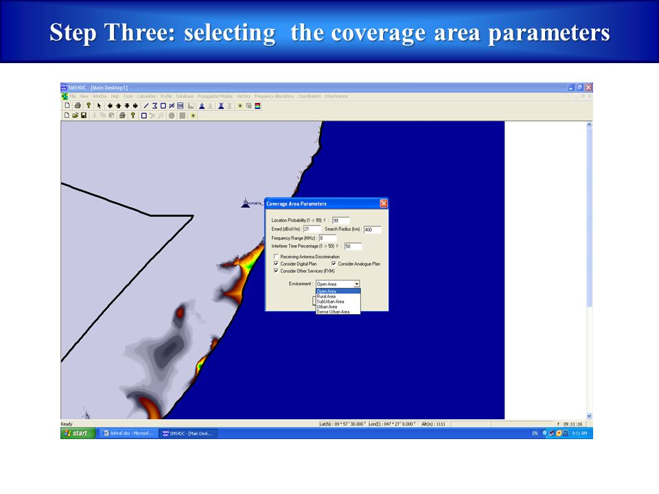 Step Three: selecting the coverage area parameters