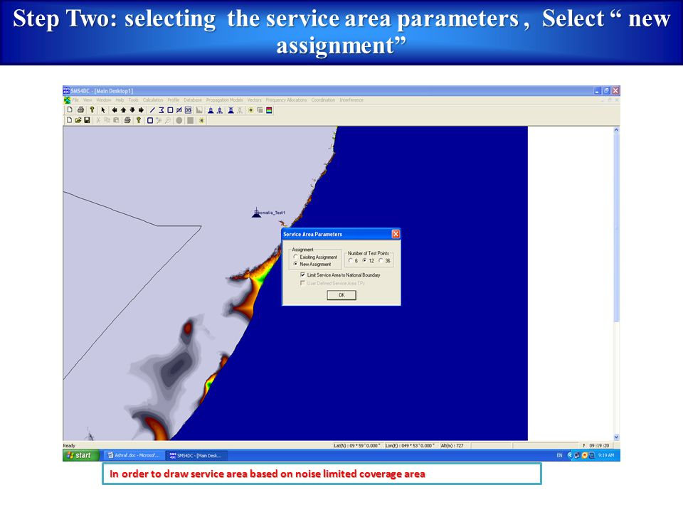 Step Two: selecting the service area parameters , Select new assignment