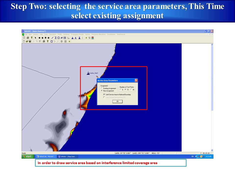 Step Two: selecting the service area parameters, This Time select existing assignment